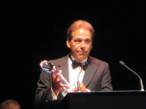 Coach Saban giving his acceptance speech